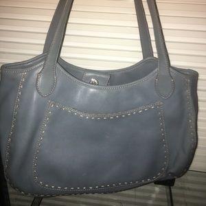 A dusty Cornflower blue leather shoulder bag -boho